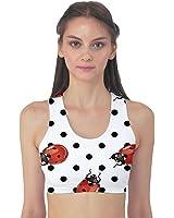 Red Ladybugs Black Polka Dots Pattern Women's Sport Bra