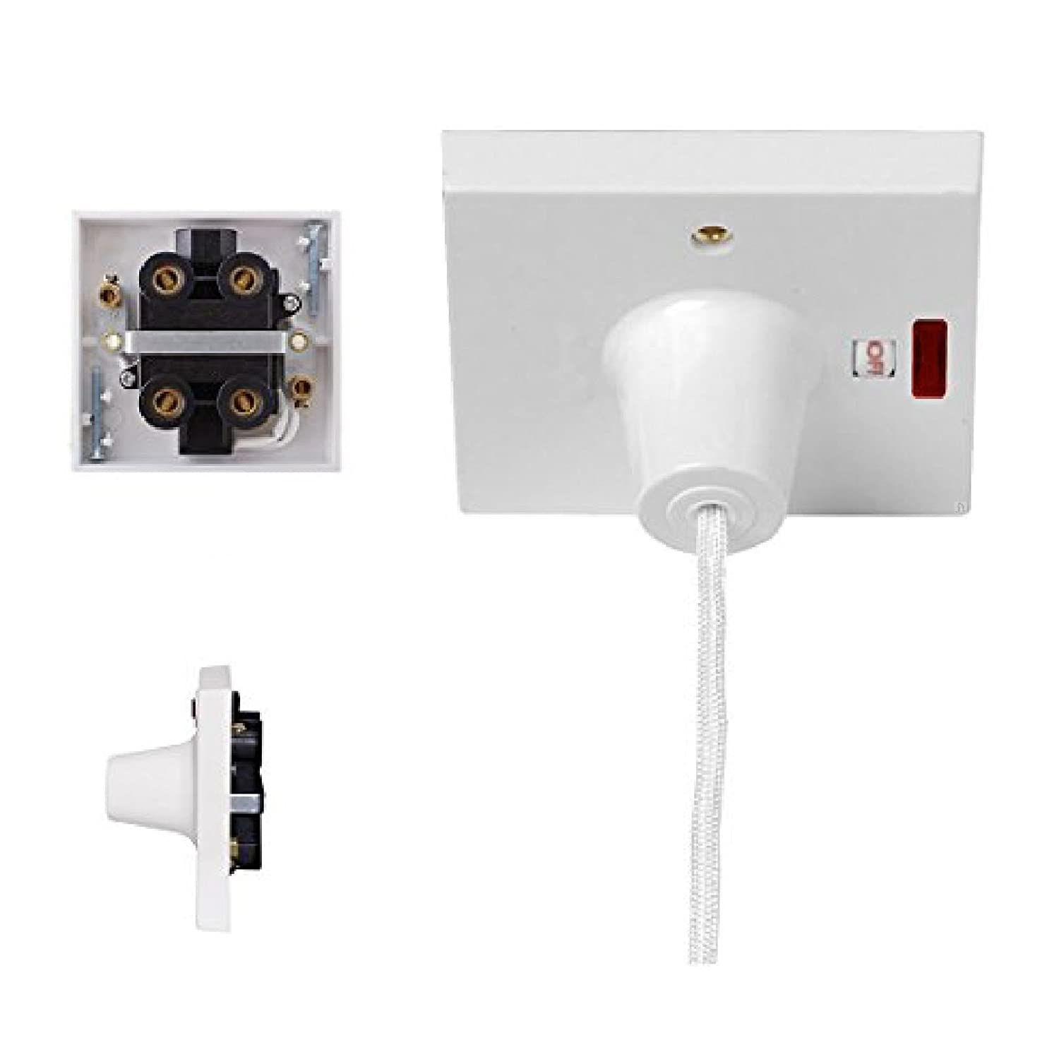 45 Amp White Shower Pull Cord Neon Light Ceiling Switch Double Old Electrical Equipment Volex 3 Piece Rose Pole Electric Diy Tools