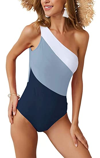 89b919356b3 PinUp Angel Gray Navy One Piece Colorblock Swimsuit One Shoulder Backless  Slim Bathing Suit