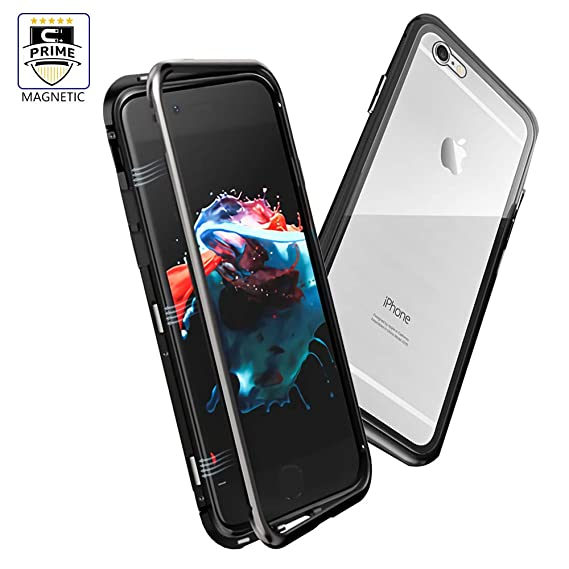 pretty nice a1c4d 684de iPhone 6S Plus Case, LIGHTDESIRE Slim Bumper Magnetic Adsorption with  Tempered Glass Back Cover Case for iPhone 6S Plus/6 Plus (Black)
