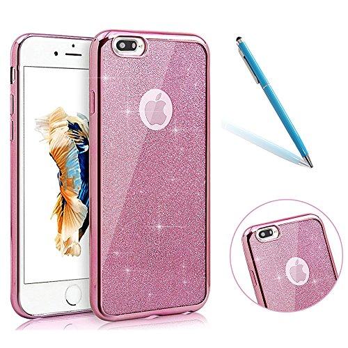 iPhone 8Plus Funda Silicona, CLTPY iPhone 7Plus Cristal Diamante de la Serie Bling Brillo TPU Cubrir, Alta Resistencia y Flexibilidad Caja para el Apple iPhone 7Plus/8Plus + 1 x Stylus Libre - Rhinest Oro Rosa