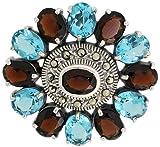Sterling Silver Marcasite Large Flower Brooch Pin w/ Oval Cut Garnet & Blue Topaz Stones, 1 9/16 in. (40mm)