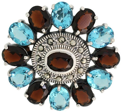 Sterling Silver Marcasite Large Flower Brooch Pin w/ Oval Cut Garnet & Blue Topaz Stones, 1 9/16 in. (40mm)