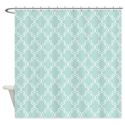 Image Unavailable Not Available For Color CafePress Light Teal Moroccan Quatrefoil Shower Curtain