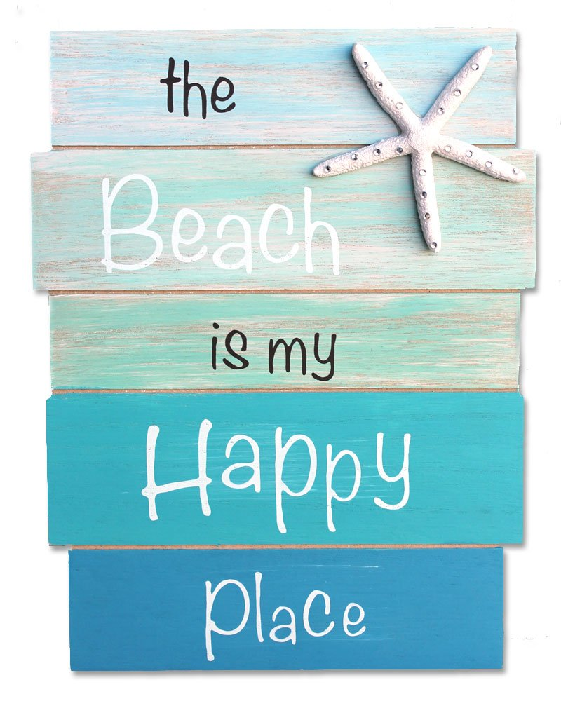 Amazon.com: The Beach is My Happy Place - Coastal Wood Plank Sign ...