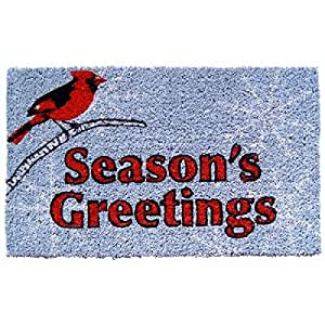Entryways Cardinal Greetings Hand Woven Coir Doormat, 18 by 30-Inch