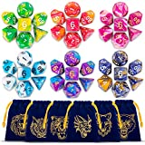 DND Dice Dungeons and Dragons Dice of 42 PCS with 6 Dice Bag and 1 Flowery Tin DoubleColors Polyhedral Dice for Dungeons and Dragons