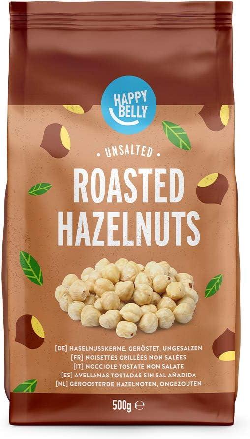 Marca Amazon - Happy Belly Avellanas tostadas sin sal añadida,2x500g