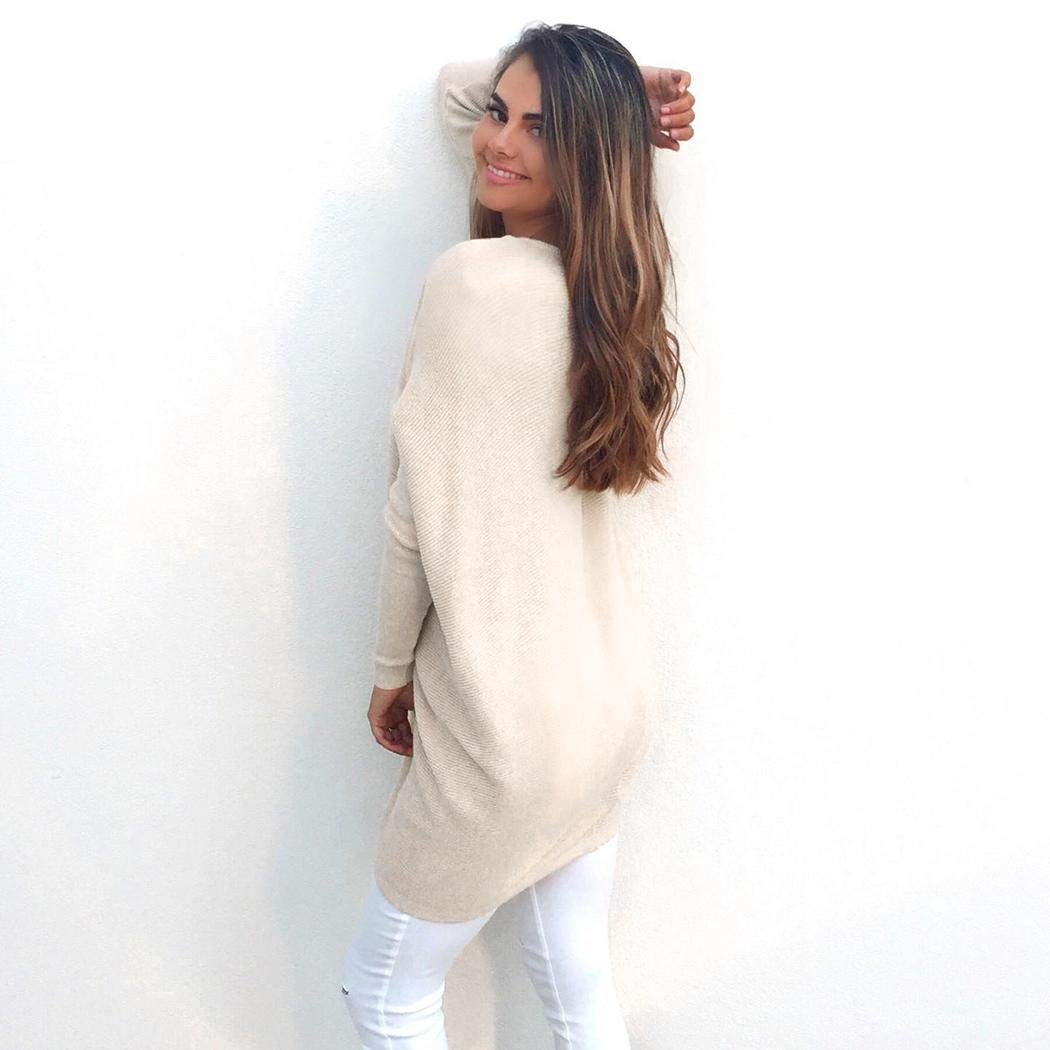 Sioneit Damenmode Casual V-Ausschnitt Langarm Lose Lange Pullover Strickjacke Pullover