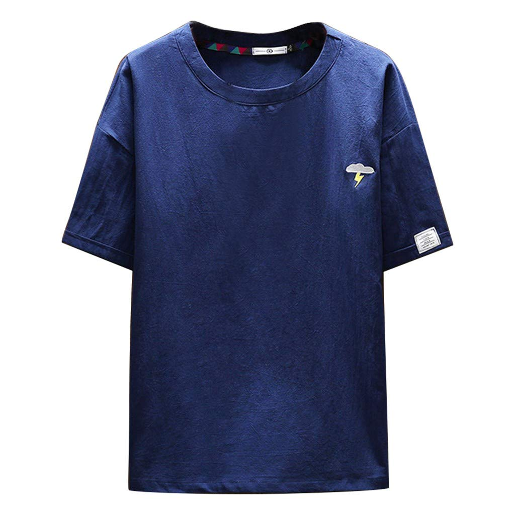 WYTong Men's Loose-Fit Short Sleeve Pullover Summer Casual Simple Solid Color Short Sleeve Top