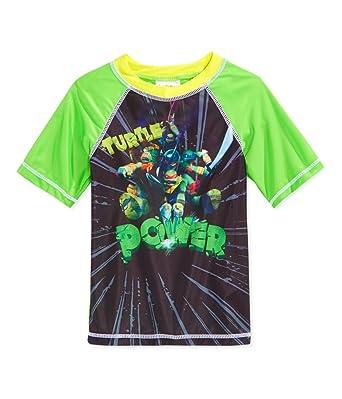 7938b158d9 Nickelodeon Boys TMNT Rashguard Graphic T-Shirt Green 4 - Little Kids (4-