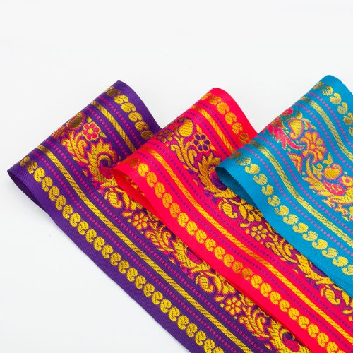 Neotrims Wide India Paisley Peacock Sari Salwar Kameez Craft Ribbon Material 9cm. Peacock Design Indian Ribbon, 9cms. Colourful and vibrant a traditional Sari ribbon Border with floral & Peacock broc