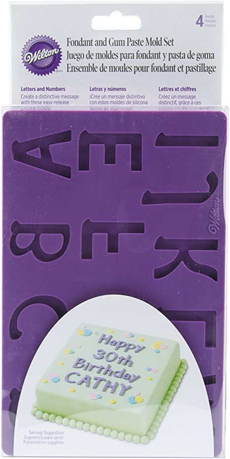 Wilton Silicone Letters and Numbers Fondant and Gum Paste Molds, 4-Piece - Cake Decorating Supplies