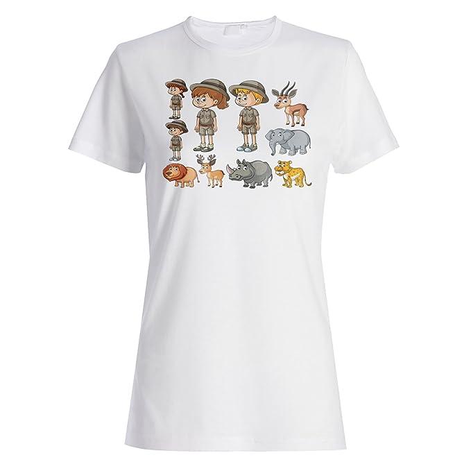 Safari Zoo Africa Feliz camiseta de las mujeres p506f: Amazon.es: Ropa y accesorios