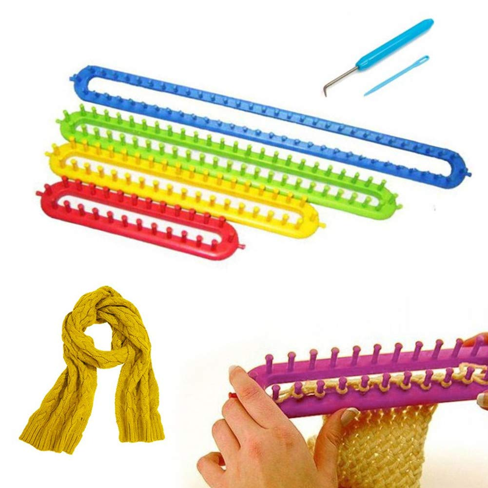 Katech 4 pcs Rectangle Knitting Looms Different Sizes Colorful Plastic Weaving Looms Set Scarf Hats Making Tools DIY Crocheting Handmade Craft Kit with a Crochet Hook and Needle (Color is Random)