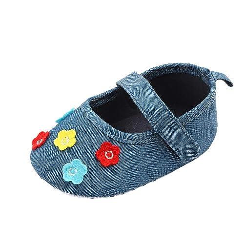 Mitlfuny Niñas Bebe Primeros Pasos Zapatos de Lona para Bebé Suave Suela Antideslizantes Flor Velcro Zapato