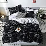 DEALS FOR LESS- King Size Bedsheet, 6 piece Duvet Cover Bedding Set, Black Marble Design