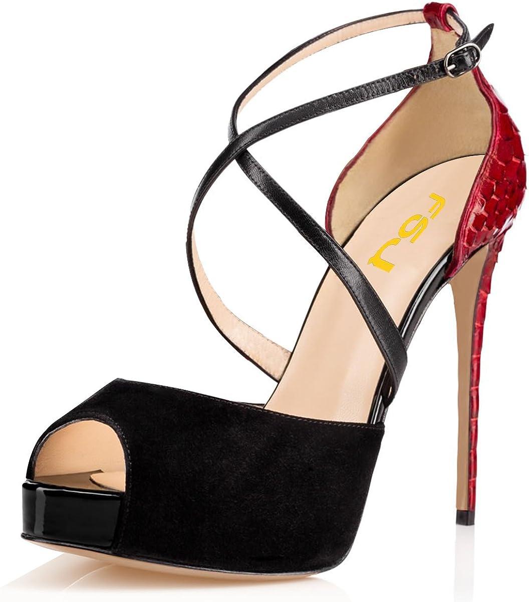 Womens Peep Toe High Heel Platform  Wedding Party Shoes Slim Ankel Strap Size