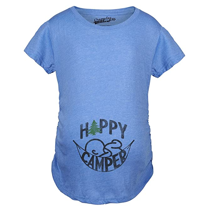 5d9515ed Crazy Dog T-Shirts Maternity Happy Camper Pregnancy Tshirt Cute Cool  Outdoors Baby Bump Tee