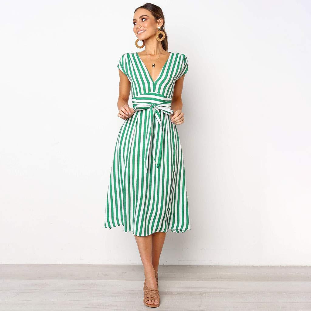 TIFENNY Women Casual Stripe Printing Off Shoulder Sleeveless Dress 2019 V Neck Princess Dress with Belt Green