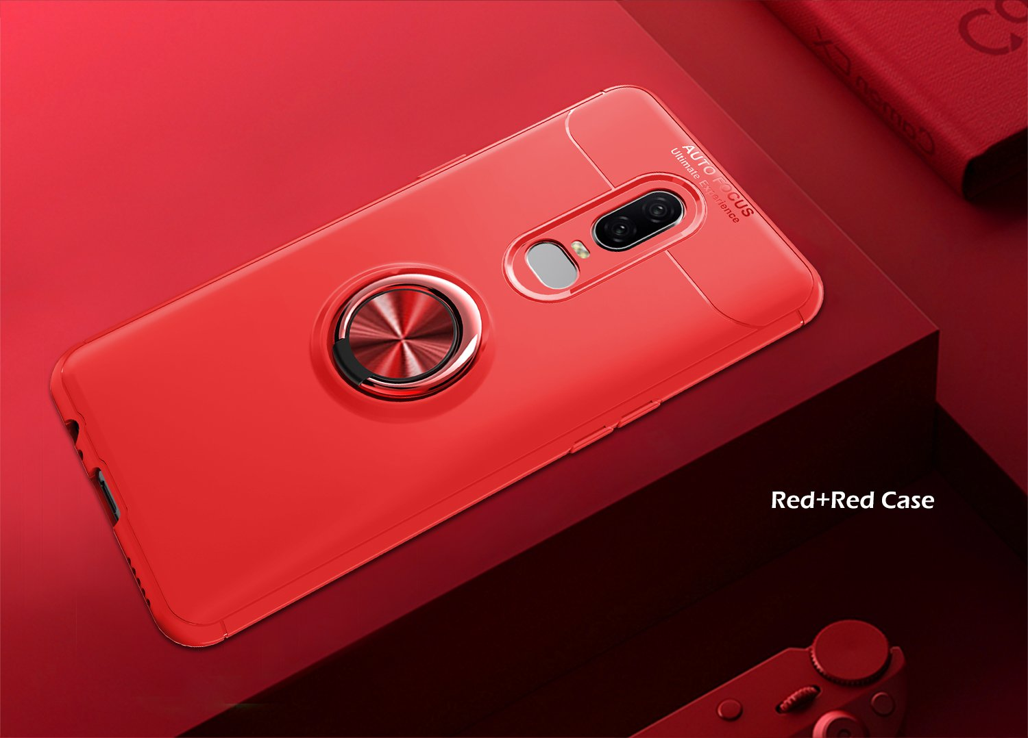 OnePlus 6T Case with HD Screen Protector,I VIKKLY Slim Flexible and Durable Soft [TPU] 360 Degree Rotating Ring Kickstand Shockproof Case Fit Magnetic Car Mount for OnePlus 6T 6.4'' (2018) (Red) by I VIKKLY (Image #3)