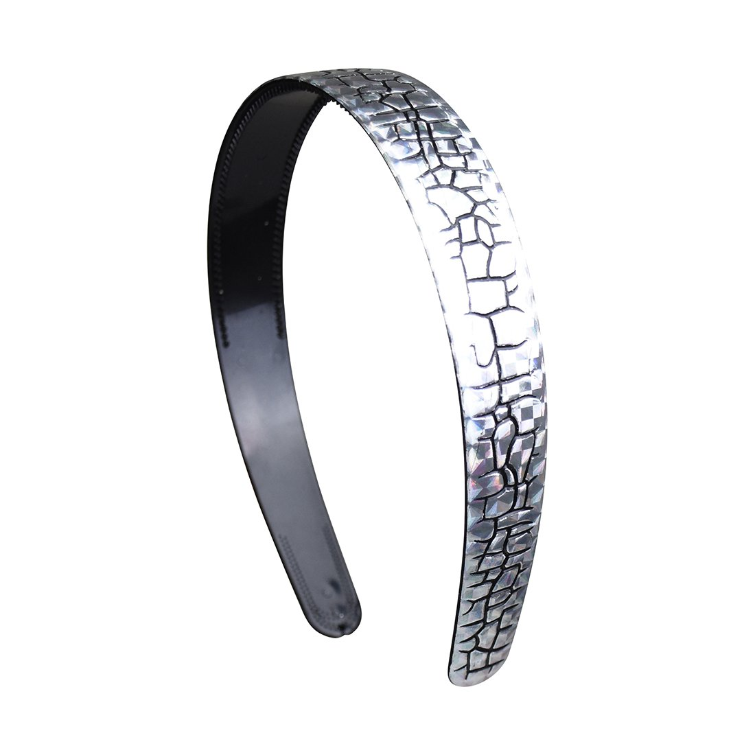 1 Inch Silver Crackle Design Headband - Black