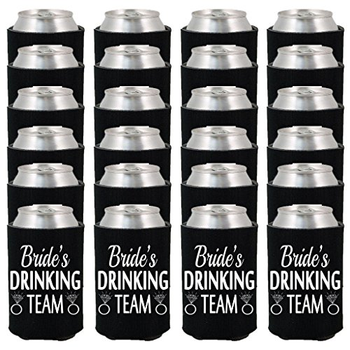 24 Pack Bride Wedding Party Can Coolie, Miss Flora Bride's Drinking Team Drink Can Cooler for Bachelorette Party, Bridal Shower, Ladies Night Favors (Black) by Miss Flora