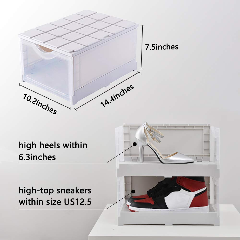 Loving You Foldable Shoe Box Stackable Closet 2 Pack Women Men Plastic Shoe Case Drop Front Shoe Storage Box Dustproof Shoe Container Shoe Organizer with Clear Windows for Wardrobe Entryway
