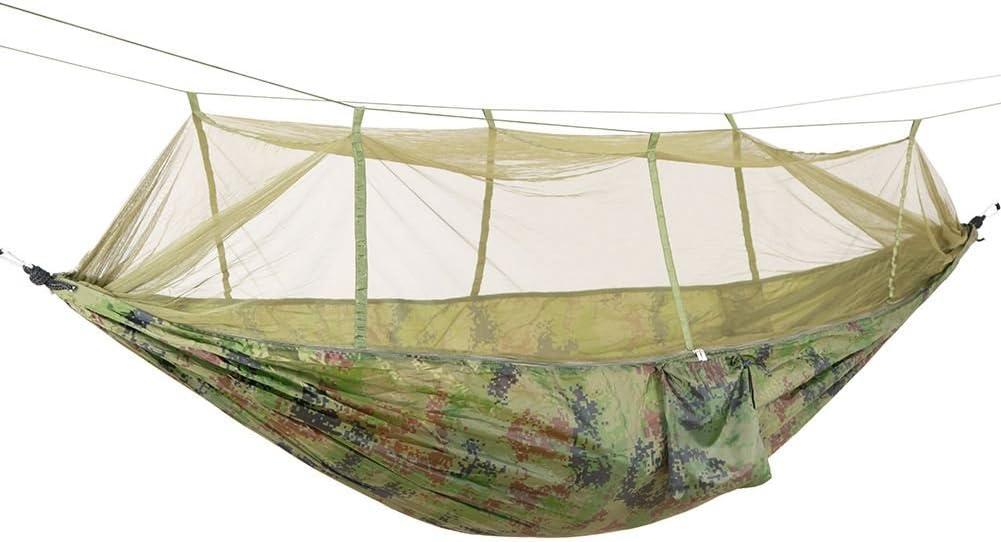 REFURBISHHOUSE Hamaca para Camping de Tela de paracaidas de Alta Resistencia portatil Cama Colgante con mosquitera Hamaca para Dormir Camuflaje