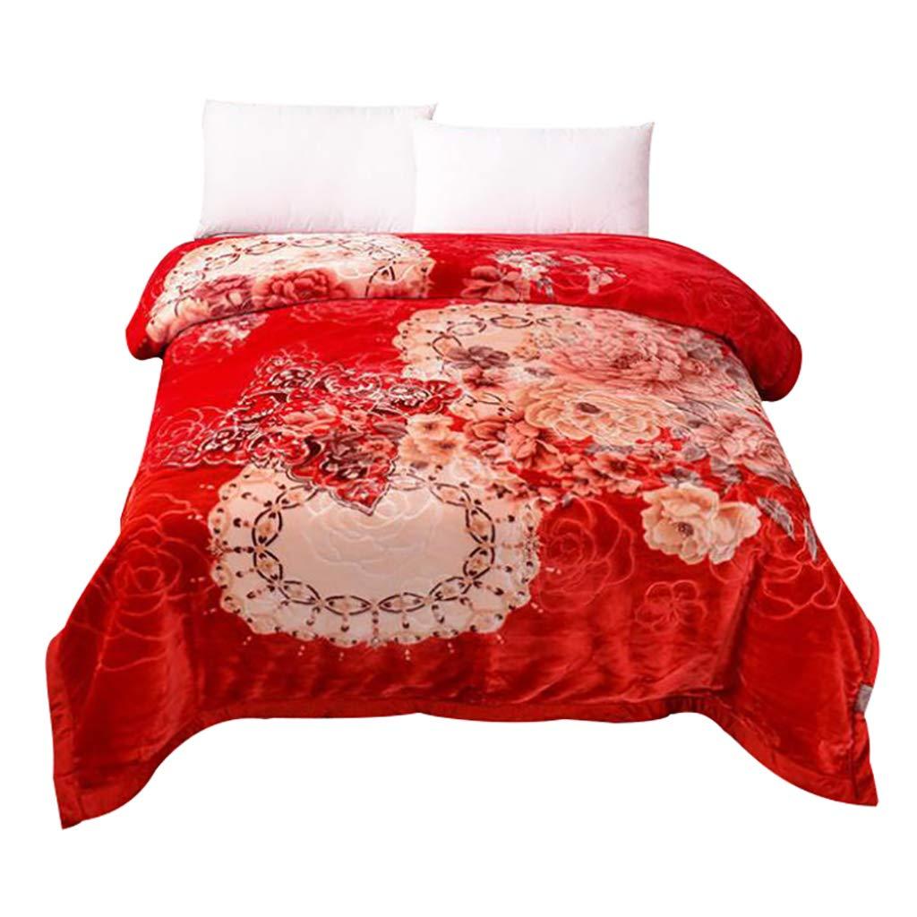HSBAIS 柔らかい毛布 小さい毛布大人のためのクイーンキングサイズ - ラッセル厚めの冬暖かい毛布洗える毛布,red_79*90 inch B07LDQ1GNV red 79*90 inch