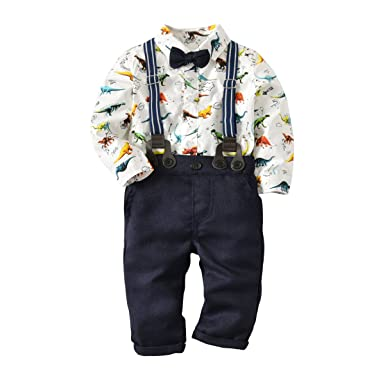 df7b2bb37bc Baby Boys Dinosaur Long Sleeve Shirt Gentleman Pants Clothing Set Overalls Romper  Jumpsuit Clothes Toddler Outfit