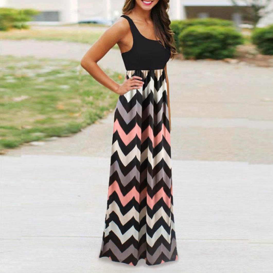 f05d7453f36 Womens Dress Summer Plus Size Striped Long Boho Beach Summer Maxi Sundress  at Amazon Women s Clothing store