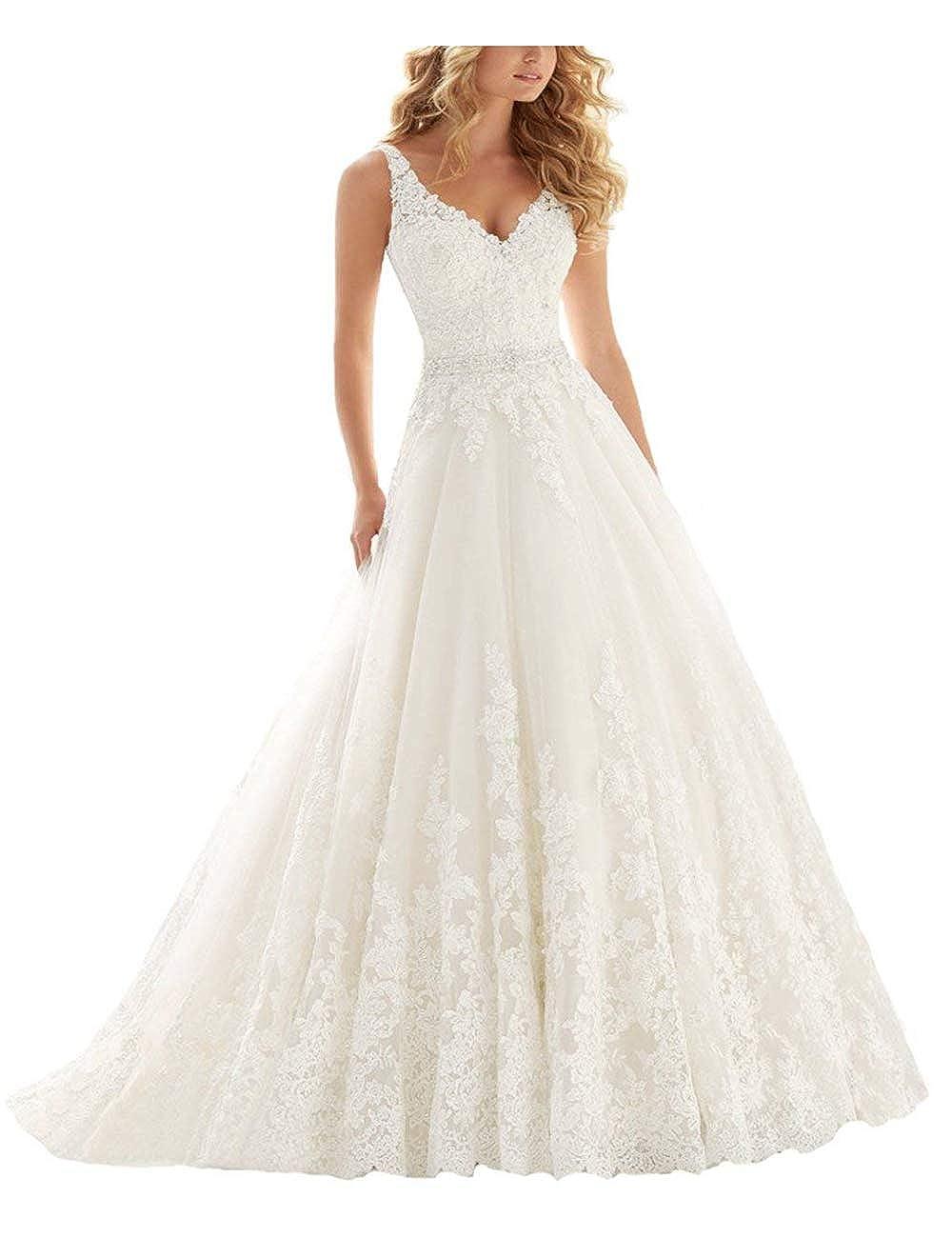 VKStar® Prinzessin Brautkleider V-Ausschnitt Spitze Appliques Hochzeitskleider Ärmellos Brautkleid Lang Brautmode Damen Abendkleider mit Schleppe CL000356