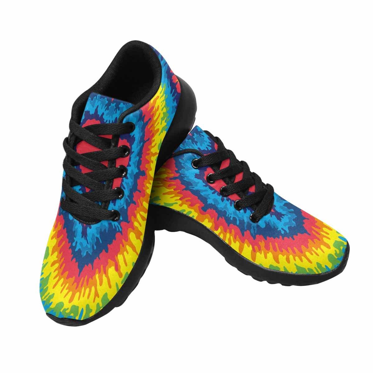 InterestPrint Women's Go Easy Walking Comfort Sports Athletic Shoes Heart, Love, Rainbow Tie Dye Background US 7