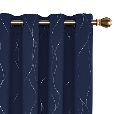 Deconovo Blackout Curtains Grommet Top Drapes Wave Line and Dots Printed Bedroom Blackout Curtains for Kids Room 52 x 95 Inch Navy Blue 2 Panels