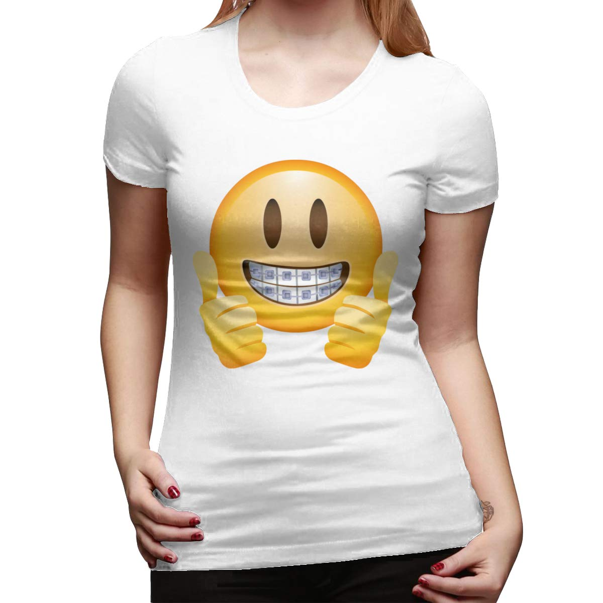 Seuriamin Thumbs Up Emoji Cool Travel Round Neck Short Sleeve T Shirts Tops