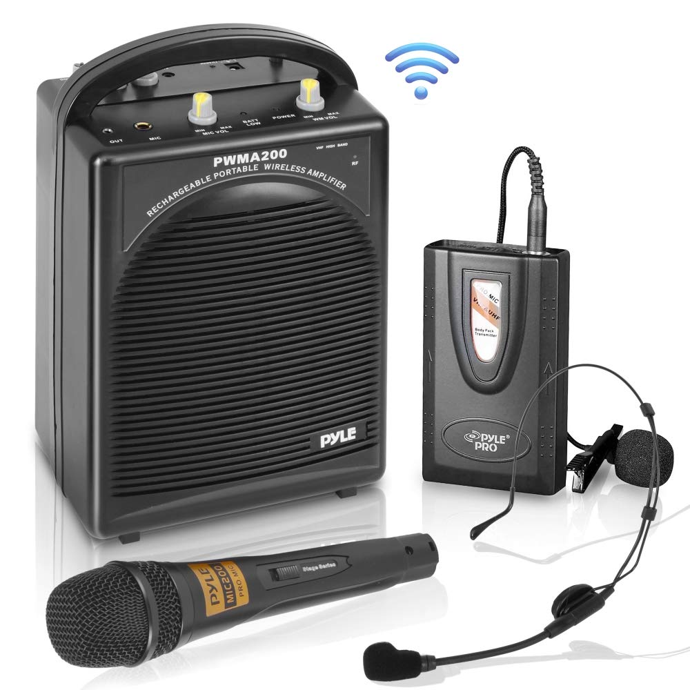 Pyle PWMA200 Compact & Wireless Microphone PA Speaker System, Handheld Mic