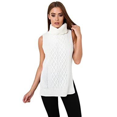 d92c67b007fcc3 Sleeveless Roll Neck Knitted Jumper in Cream 12: Amazon.co.uk: Clothing