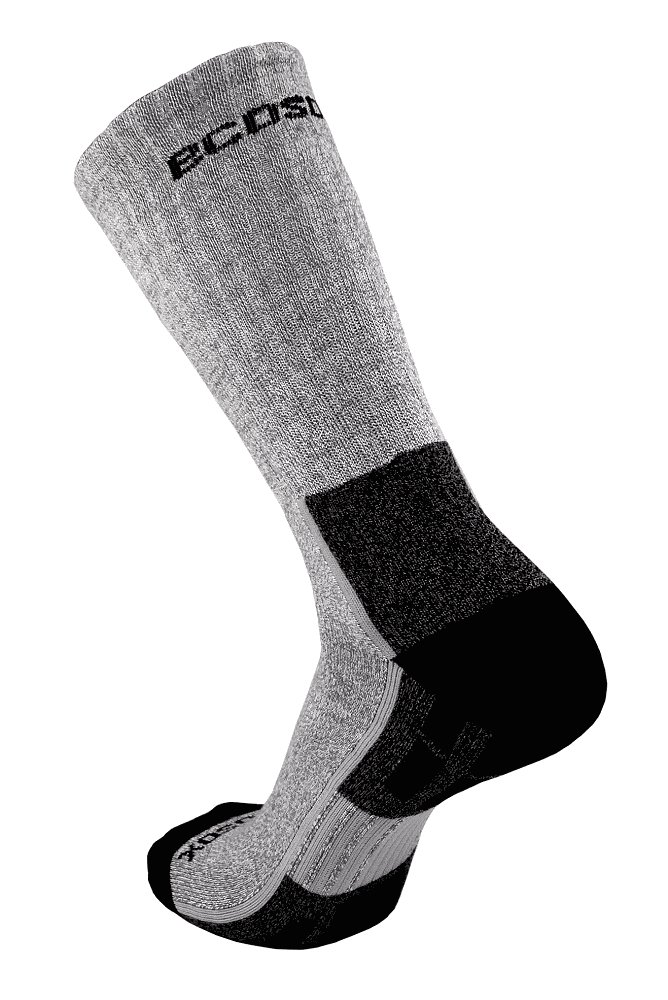 Ecosox Viscose Bamboo Light Weight Hiker w/Arch Support Socks (Charcoal/Lt.Gray, 10-13) (5 Pack) by Ecosox