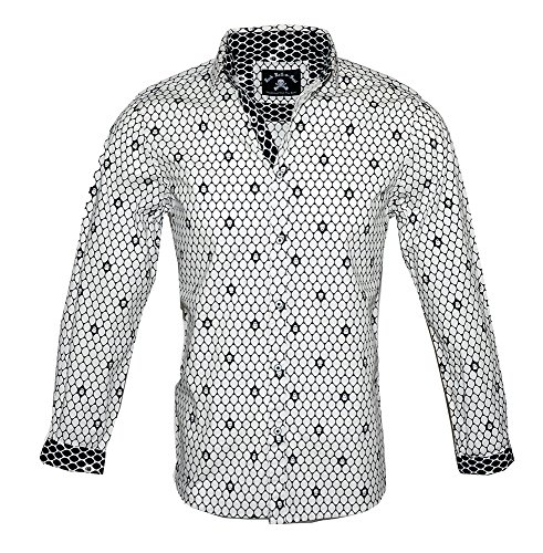 Rock Roll-n-Soul Men's Long Sleeve Skull Print Button up Fashion Shirt Overkill White RRMW204W (L) -