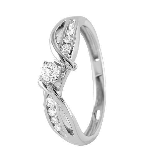 Anillo de compromiso de oro blanco de 10 quilates con diamante natural de 0,25