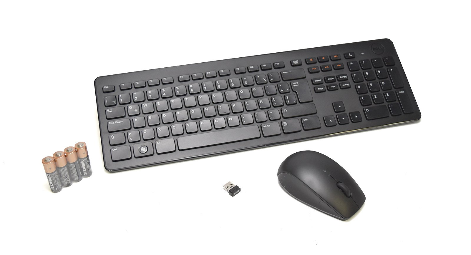 Refurbished R07JT Genuine OEM Dell Spanish KM632 Wireless Keyboard+Mouse+Receiver Factory Synched Set LAT-AMERICAN USB KIT Cordless Mouse/Keyboard RF Retail Box USB Spanish QWERTY w/Number Pad M1XF1