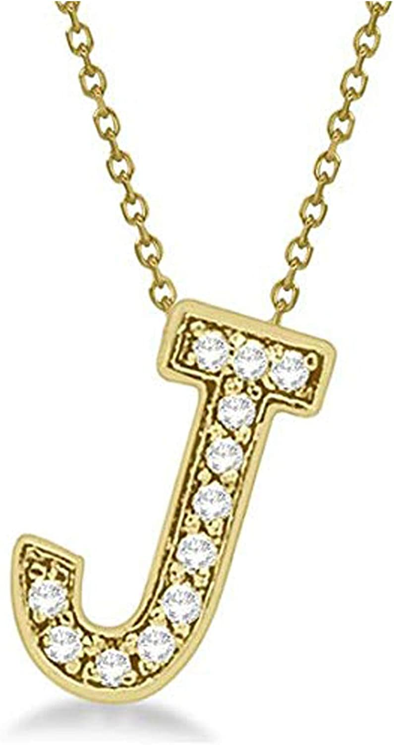 Gemhub Custom Tilted Diamond Block Letter Initial Necklace 14k Rose Gold Initial Personalized Pendant