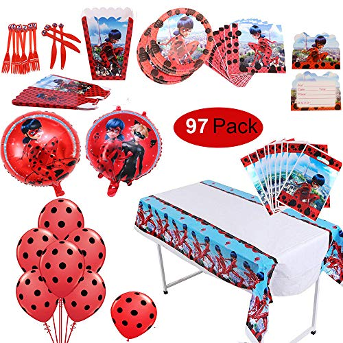 97 Pack Ladybug Theme Party Supplies Tableware Set Ladybug Balloons Complete Birthday Party Decorations Supply Pack for Ladybug Theme Kids Party Celebration Party Supplies for 10 Children Kids