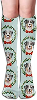 UYTGYUHIOJ Australian Shepherd Merle Christmas Wreath Dog Breed Men's Women's Cotton Crew Athletic Sock Running Socks Soccer Socks 19.7 inch