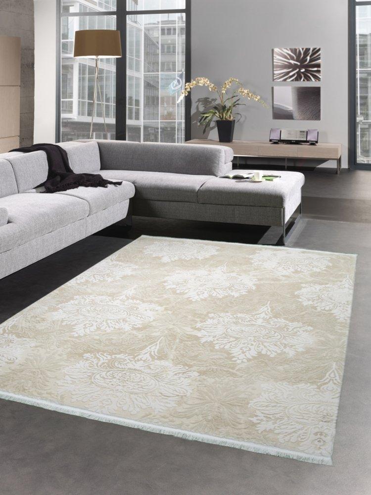Carpetia Desginer Teppich Wollteppich Ornamente Barock Fransen Creme beige Größe 80 x 300 cm