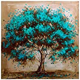 Diamond Painting Kits for Adults Kids, 5D DIY Blue Tree Diamond Art Accessories with Round Full Drill Dotz for Home Wall Decor - 11.8×11.8Inches
