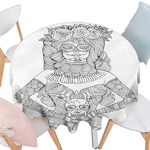 (Jacquard Tablecloth Girl with Calavera Makeup Holding Sugar Skull Halloween Coloring Page Round Tablecloth D)