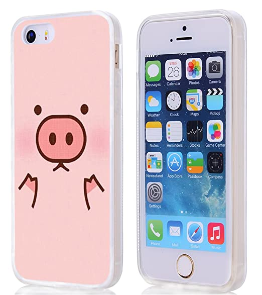 super popular 41a5e ab65a for iPhone SE Case Pig,Gifun [Anti-Slide] and [Drop Protection] Soft TPU  Premium Flexible Protective Case for iPhone SE/5S/5 - Cute Pink Pig Head