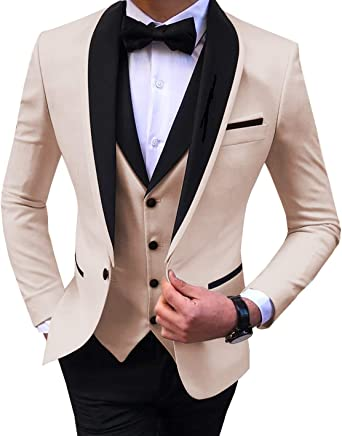 Mens Slim Fit 3-Piece Suit Shawl Lapel Business Wedding Party Blazers Jacket Pants Vest Set